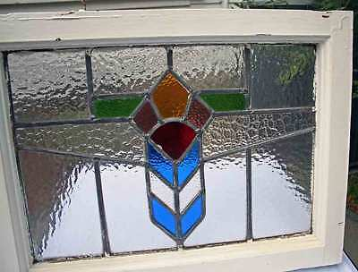 Antique Leaded Old Sash Stained Glass Wood Framed Ready To Hang Beautiful Window