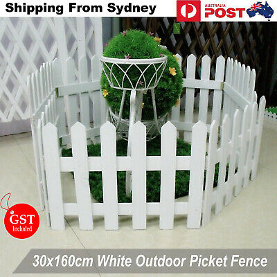 160x30cm White Wooden Fence Picket Panel Gate Wedding Party Decoration  Bonsai