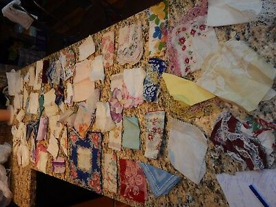 hankerchief floral flower embroidery vintage antique LOVELY 40+ lot cotton hanky
