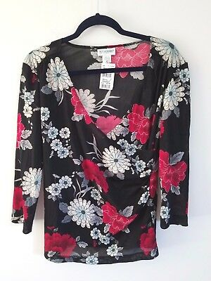 Motherhood Maternity Women's Small 3/4 Sleeve V-Neck Top Black Red Floral NEW