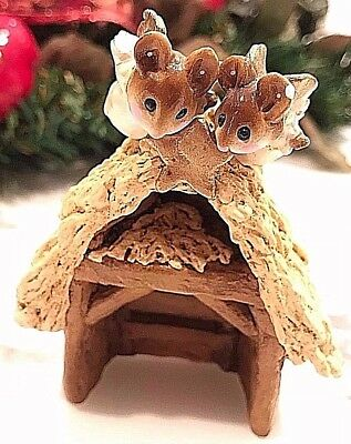 Wee Forest Folk Stable For Christmas Nativity Scene & Two Angel Mice