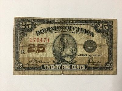 Dominion Of Canada - 1923 - 25 Cent Bank Note
