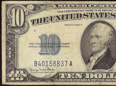 1934 D $10 Dollar Bill Silver Certificate Blue Seal Note Currency Paper Money
