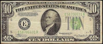 1934 A $10 Dollar Bill Federal Reserve Green Seal Note Old Paper Money Currency