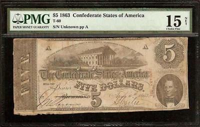 1863 $5 Dollar Bill Confederate States Currency Civil War Note Money T-60 Pmg
