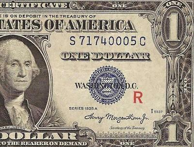 1935A $1 DOLLAR BILL RED R EXPERIMENTAL SILVER CERTIFICATE CURRENCY NOTE Fr 1609