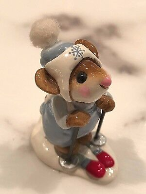 Wee Forest Folk Skier Mouse 1979  Blue and White Mint Condition W/Box