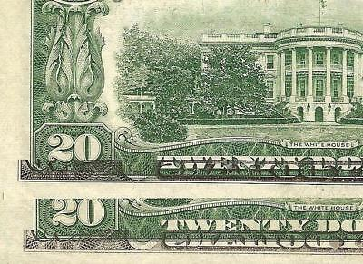 2 Cons 1950 D $20 Dollar Offset Print Errors Federal Reserve Note Crisp Currency