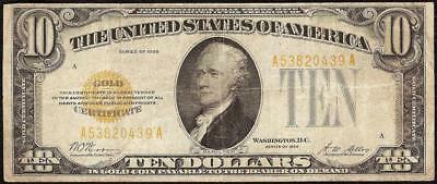 1928 $10 DOLLAR BILL GOLD CERTIFICATE COIN NOTE CURRENCY PAPER MONEY Fr 2400