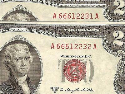 2 Cons Unc 1953B $2 Two Dollar United States Legal Tender Red Seal Notes Money