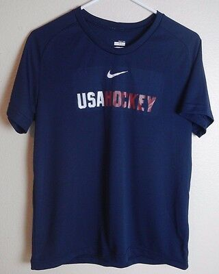 Nike USA Hockey Fit Dry Athletic T-Shirt S/S Womens L 12-14
