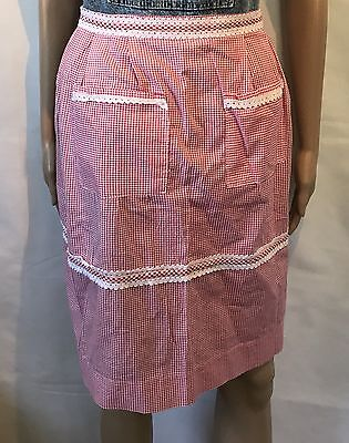 Vintage Homemaker  Checkered Gingham Apron Retro Hostess MCM Pinup Waitress Dine