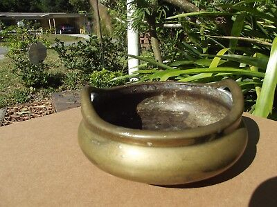 Antique Chinese Censer Xuande 6 Character Mark Bronze Tripod Feet Bowl