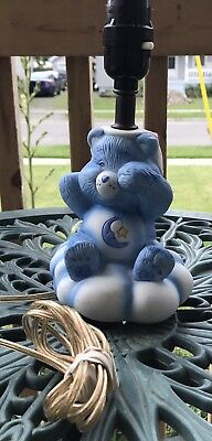 Care Bears Children's Lamp 80's Ceramic Bedroom Blue Sleepy Time Bed Nursery