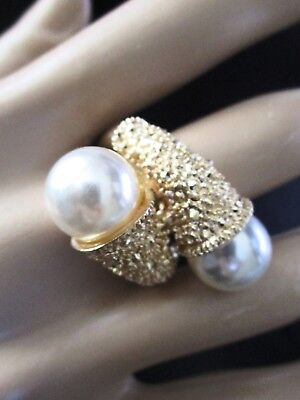 Beatuiful Golden Capped Faux Pearl Ring