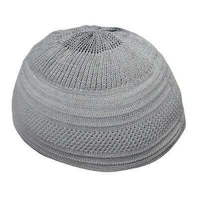 70a329fc890 TheKufi Plain Gray Cotton Stretch-Knit Kufi Hat Skull Cap - Comfortable Fit