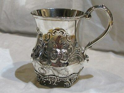 English London Solid Sterling Mug Gold Wash Embossed Hand Chased 1857