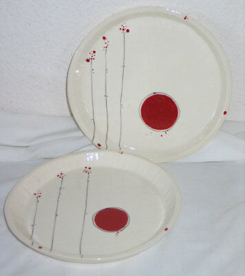 2 EZME DESIGNS Berkeley California Ceramicist Plates - Red Sun and Flowers!