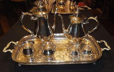 7pc vintage silver-plated Wm Rogers coffee / tea set    [619]