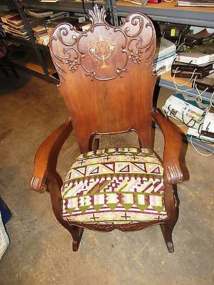 Antique Art Nouveaux Mahogany Carved & Inlaid Marquetry Rocking Chair Rocker
