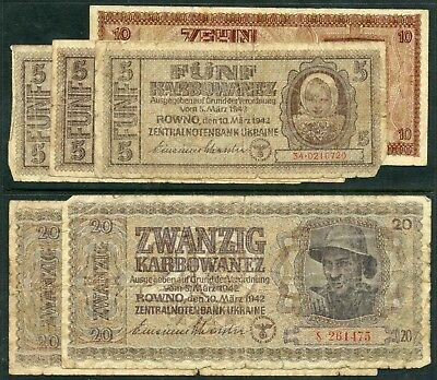 Weeda Ukraine 51-53, 1942 Central Bank issue, lot of 6 notes, scarce, see scans