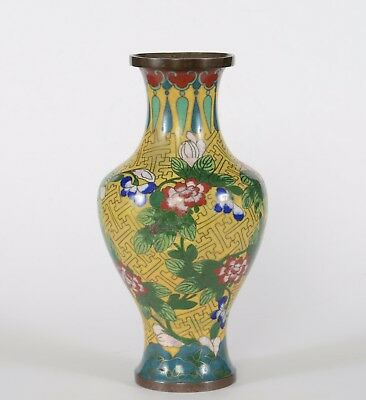 Antique Qing Dynasty Chinese Cloisonne Vase Yellow Ground with Flowers
