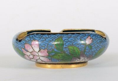 Vintage Chinese Cloisonne Ashtray Blue Ground with Flowers Gold Gilt Rim & Foot