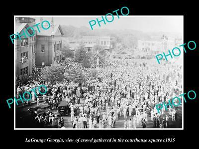 OLD LARGE HISTORIC PHOTO OF LaGRANGE GEORGIA, CROWD IN THE TOWN SQUARE c1935