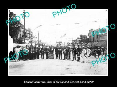 OLD LARGE HISTORIC PHOTO OF UPLAND CALIFORNIA, THE UPLAND CONCERT BAND c1900