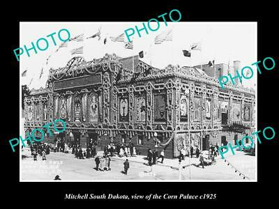 OLD LARGE HISTORIC PHOTO OF MITCHELL SOUTH DAKOTA, VIEW OF THE CORN PALACE c1925
