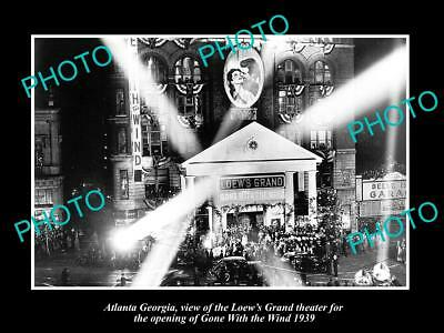 Old Large Historic Photo Of Atlanta Georgia, Gone With The Wind Premier 1939
