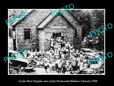 OLD LARGE HISTORIC PHOTO OF LECKIE WEST VIRGINIA, THE PENTECOSTAL CHURCH c1950