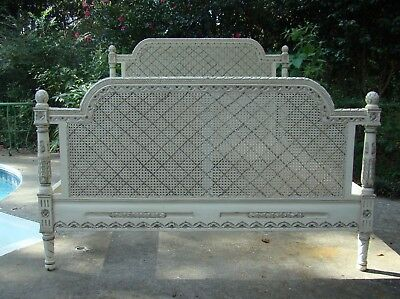 Country French Boudoir QUEEN SIZE BED Carved Painted Creamy Cane Rattan Romantic