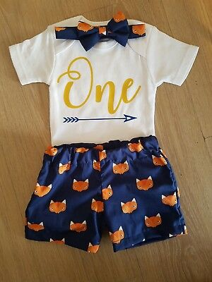 First birthday outfit  - little fox - little man - boy - Cake smash