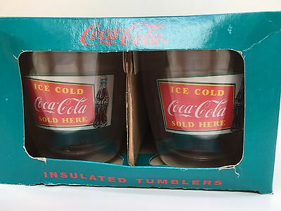 Coca-Cola 1991 Ice Cold Set of 4/14 oz. Insulated Drinking Tumblers, New in Box