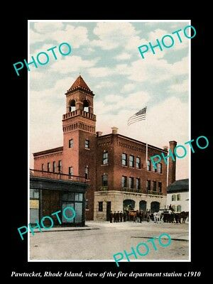OLD LARGE HISTORIC PHOTO OF PAWTUCKET RHODE ISLAND, THE FIRE DEPT STATION c1910
