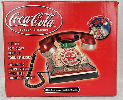 COCA COLA TIFFANY STYLE PUSH BUTTON TELEPHONE LIGHTS UP with RING - ORIGINAL BOX