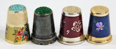 Vtg Germany Henckels Sterling Silver Enamel Jewel Top Thimble Collection Lot 4