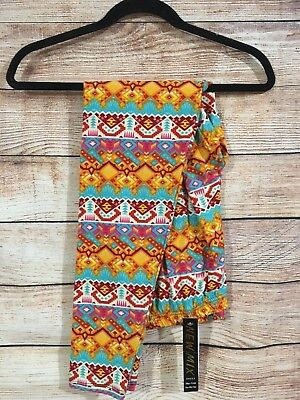 Tall and Curvy Super Soft Leggings Orange Pink Aztec Teva Plus P216N