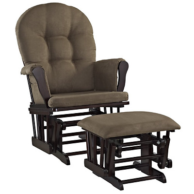 Glider Rocker Nursery Rocking Chair with Ottoman Best Espresso Chocolate Cushion