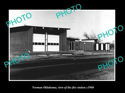 OLD LARGE HISTORIC PHOTO OF NORMAN OKLAHOMA, THE FIRE DEPARTMENT STATION c1960