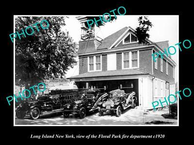 Old Large Historic Photo Of Long Island Ny, The Floral Park Fire Department 1920