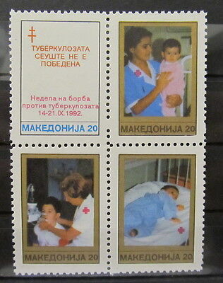 A3521 Macedonia 1992 Red Cross Block Of Four Mnh**