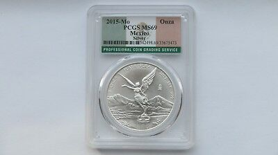 2015 PCGS MS69 Mexico 1 Onza Libertad 1 oz Mexican Silver .999 Flag Label #473