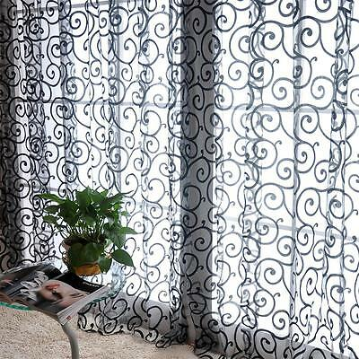 Flocking Double S Shaped Tulle Curtain Sheer Scarf Window Curtain Black BD