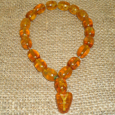 38gr. Antique Genuine Baltic Egg Yolk Amber Round Beads Rosary. Beautiful! 57