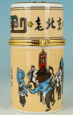 Chinese Porcelain Painting Old Beijing Life Toothpick Box gift