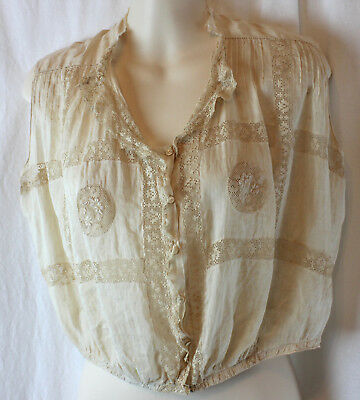 Antique Victorian Edwardian  Lace~Corset Cover Camisole Blouse Small Tea Stained