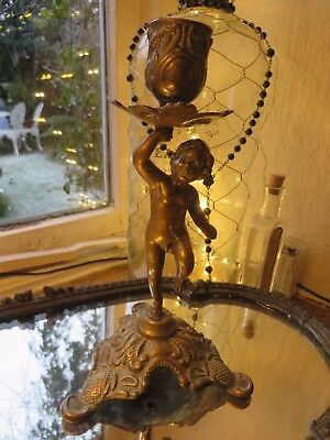 DELIGHTFUL  VINTAGE FRENCH  SOLID BRASS CHERUB CANDLE STICK ~ 1930's