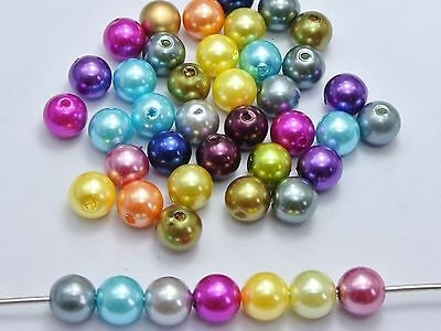100 Pcs Mixed Color Plastic Faux Pearl Round Beads 10mm Imitation Pearl